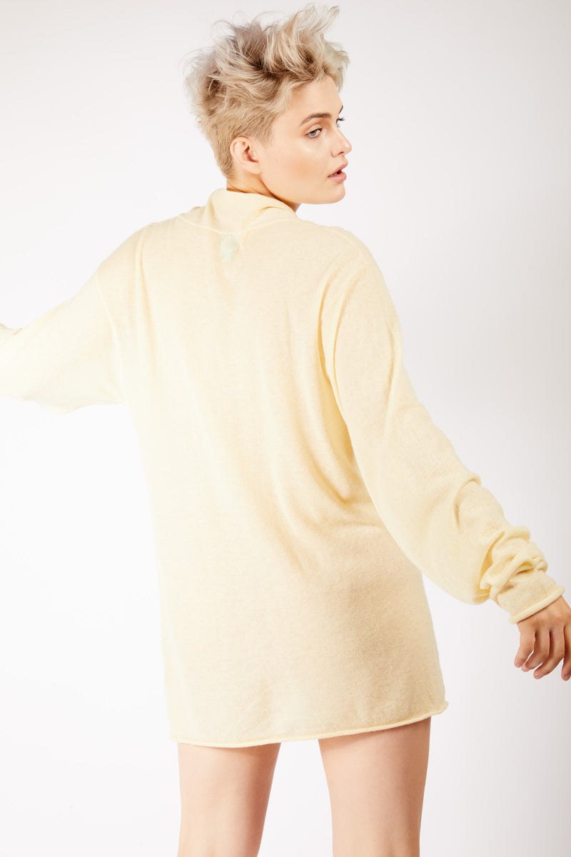 Adrian Unisex Cream High Neck Cashmere Jumper