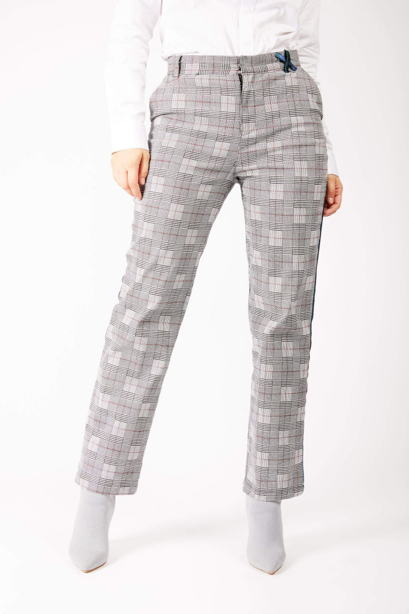 Adrian Schachter Grey Checkered Suit Trousers