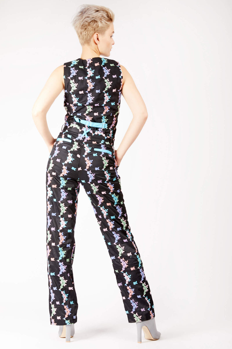 Adrian Schachter Floral Embroidered Suit Trousers