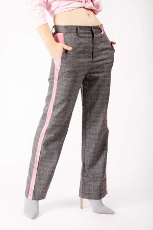 Adrian Schachter Checkered Trousers with Velvet Stripe
