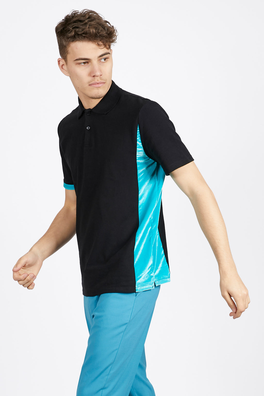 Black Unisex Polo Shirt with Velvet Detail