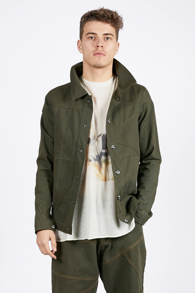 Adrian Unisex Olive Green Denim Jacket