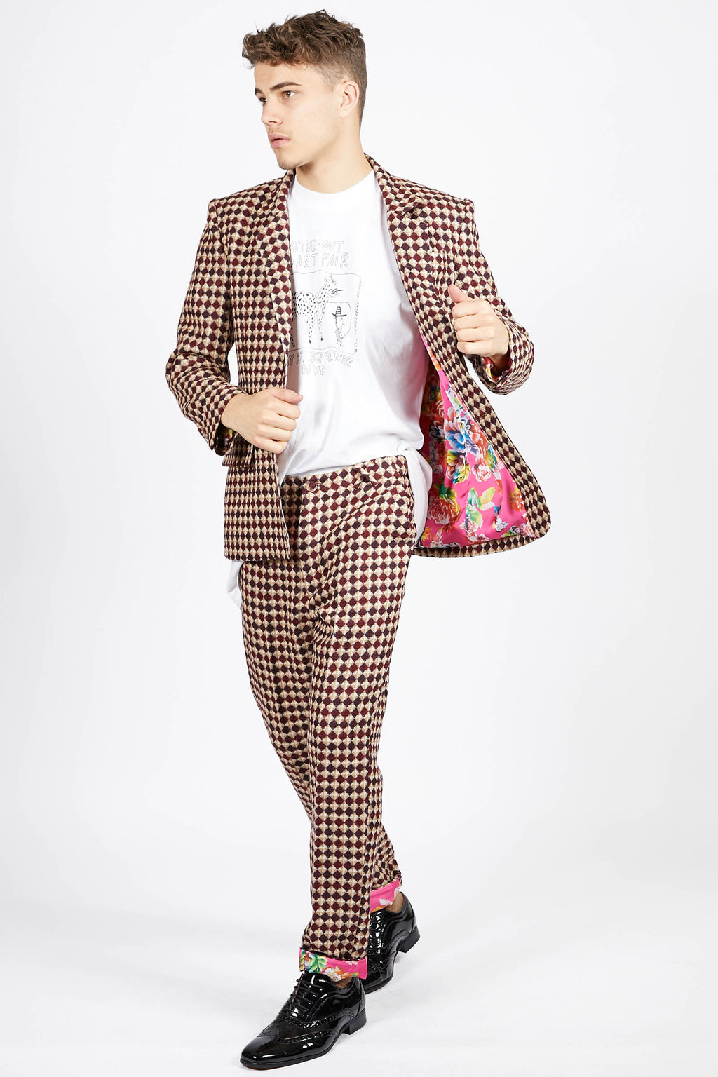 Diamond Check Flatfront Trousers
