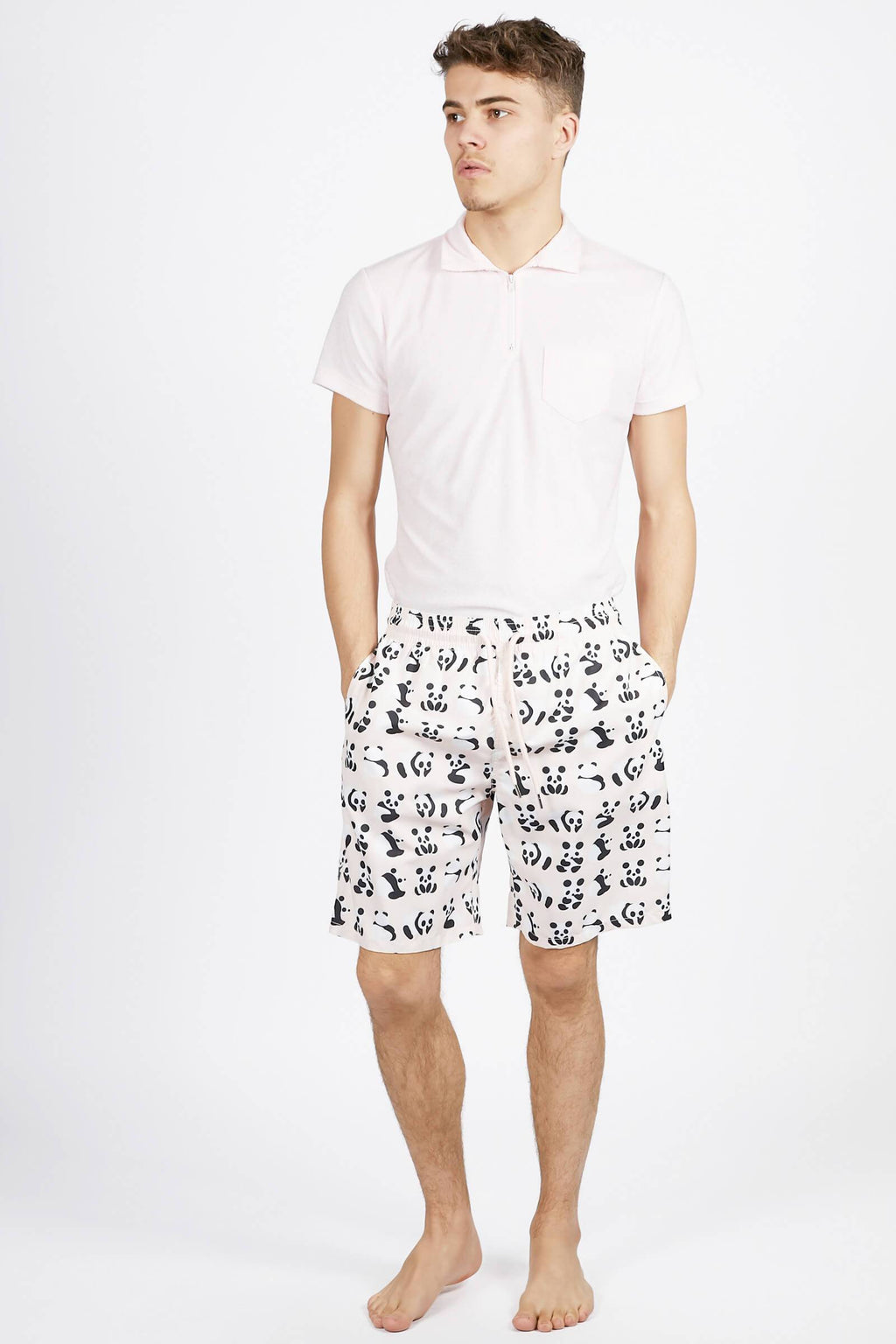 Pink Panda Short Swim Trunks