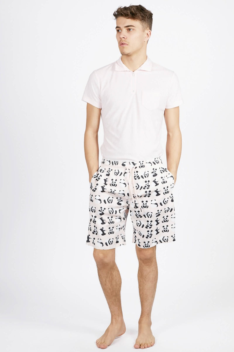 Blue Panda Print Long Swim Trunks
