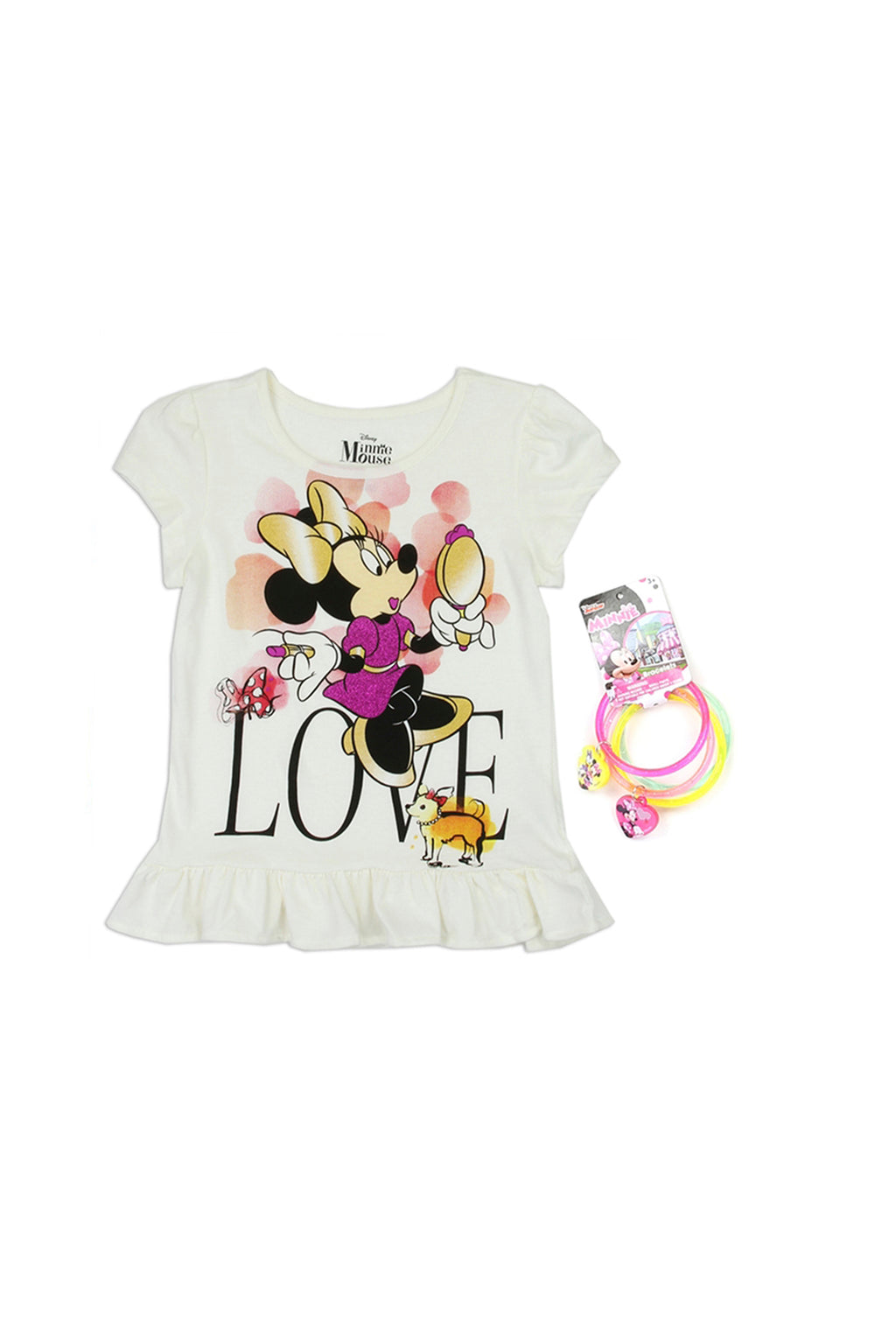 Girls Minnie Mouse T-Shirt With Bracelets