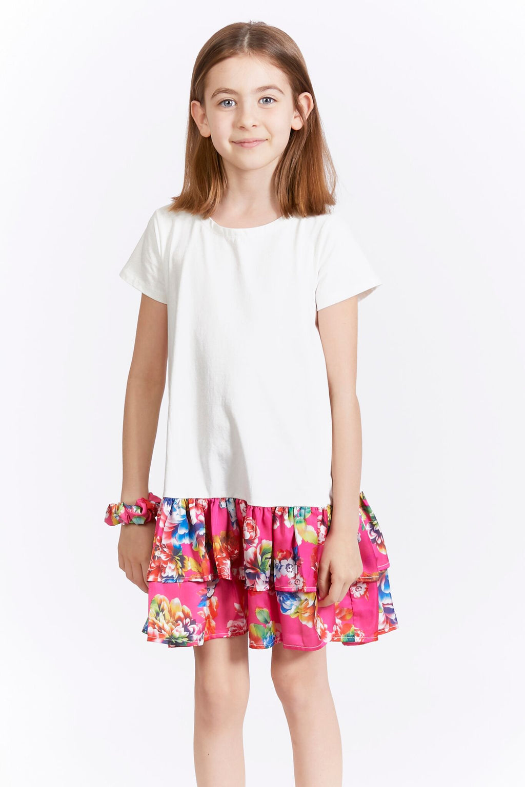Kids T-Shirt Dress with Hot Pink Floral Ruffle Hem