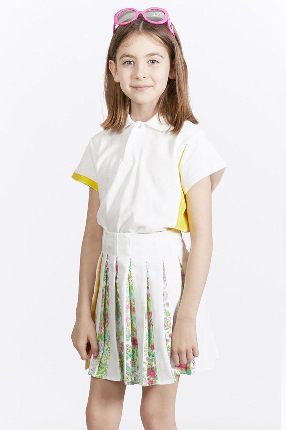 Kids White Tennis Polo Top
