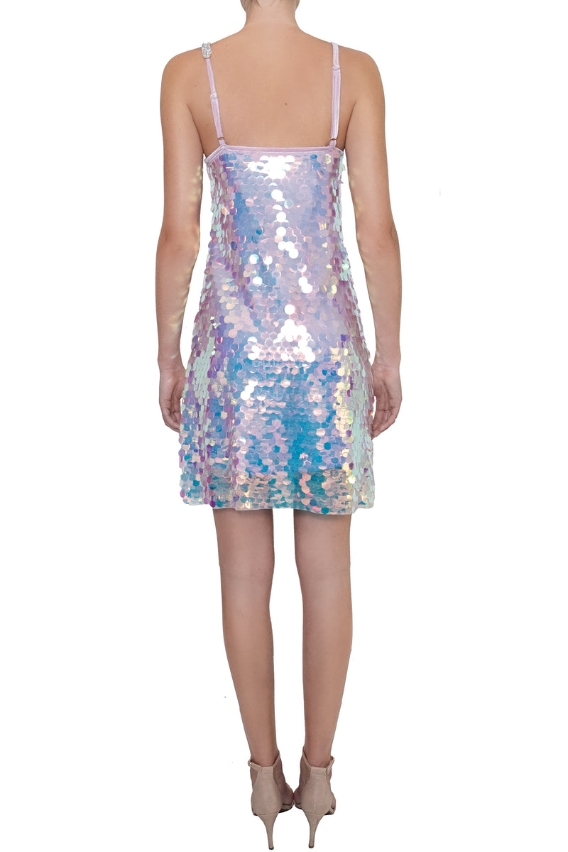 Ilona Rich Embellished Iridescent Sequin Party Dress