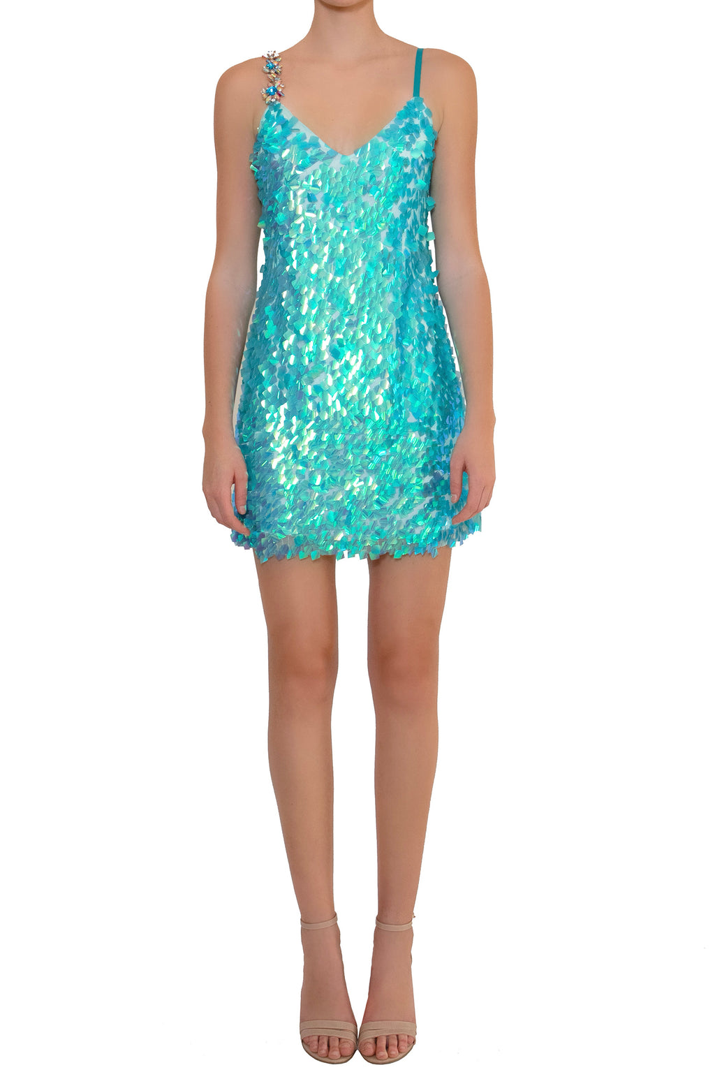 Ilona Rich Embellished  Blue Iridescent Sequin Party Dress