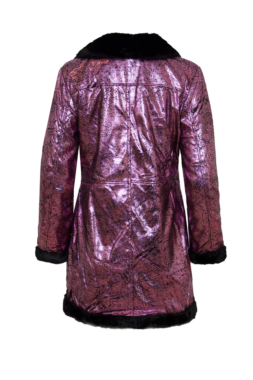 Metallic Pink Fur Lined Coat