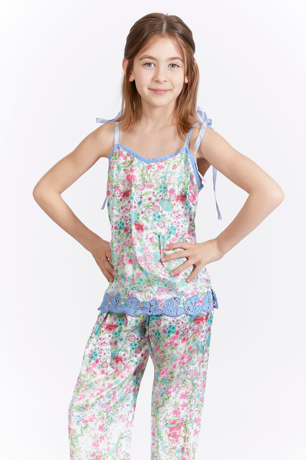 Kids Floral Lace Trim Satin Tank