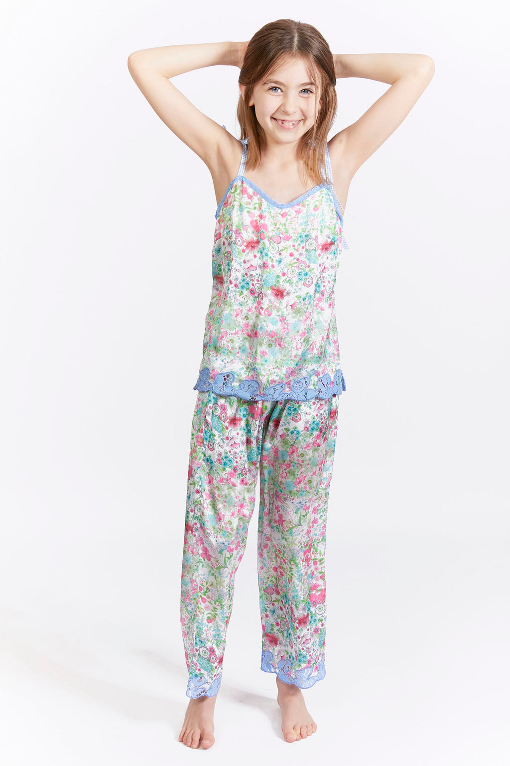 Kids Floral Lace Trim Satin Trousers