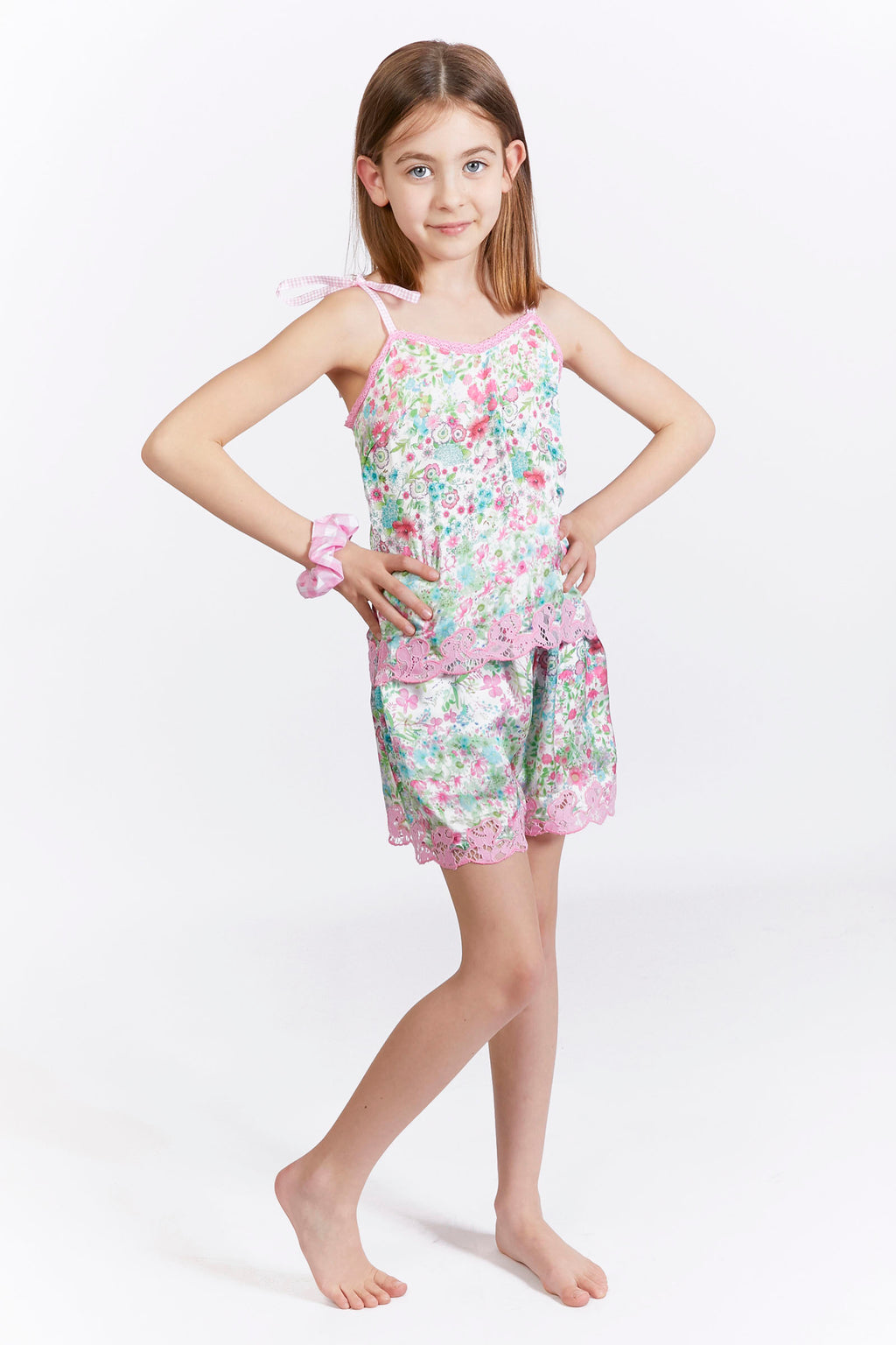 Kids Floral Lace Trim Satin Shorts