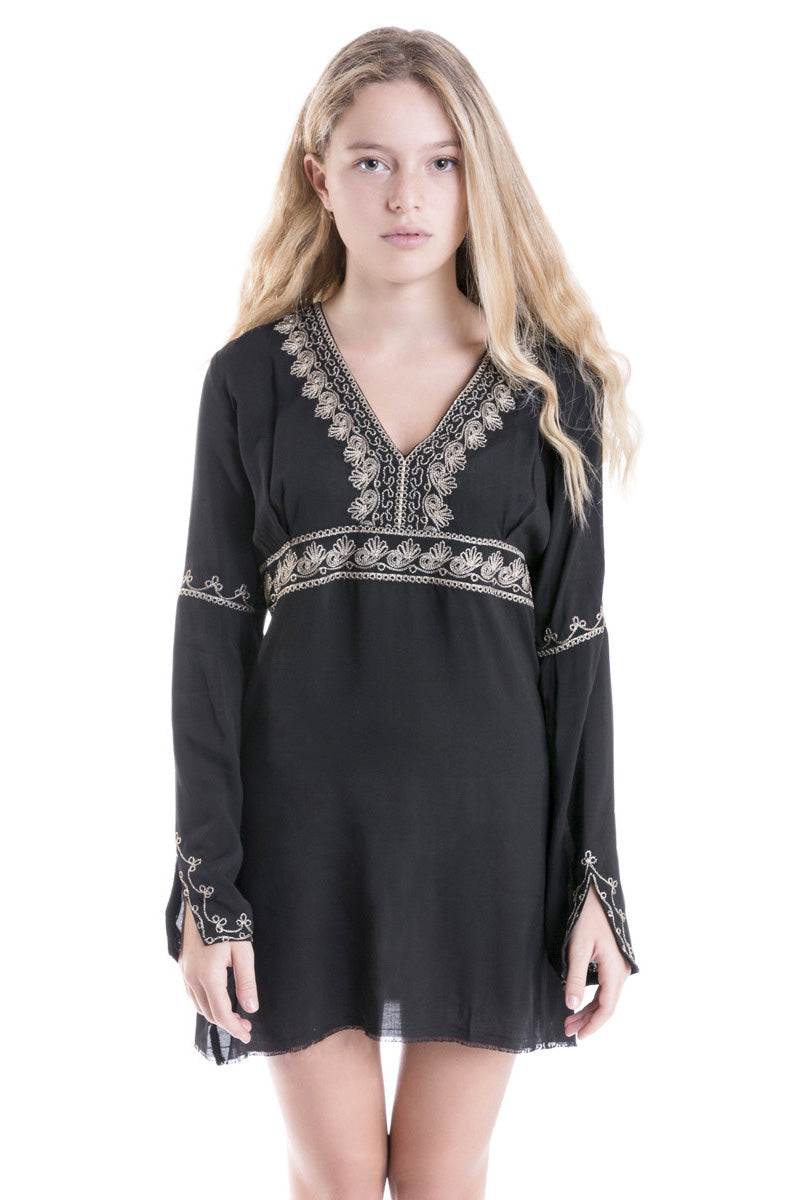 Madkat Gold Embroidery Dress