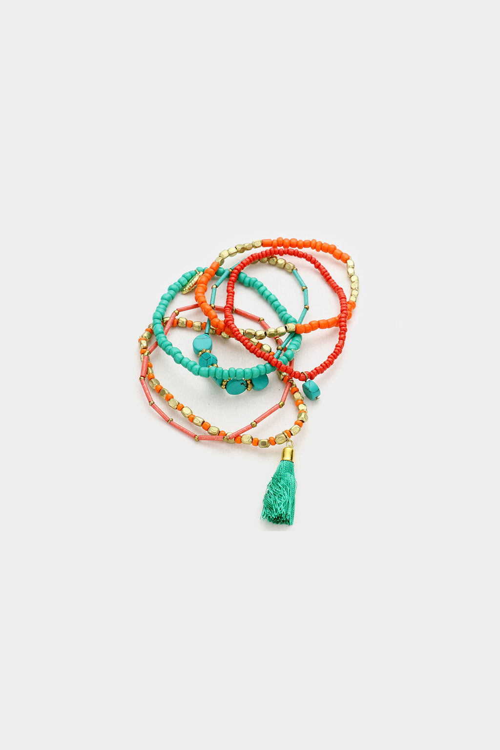 Multi Layered Bead with Tassel Stretch Bracelet