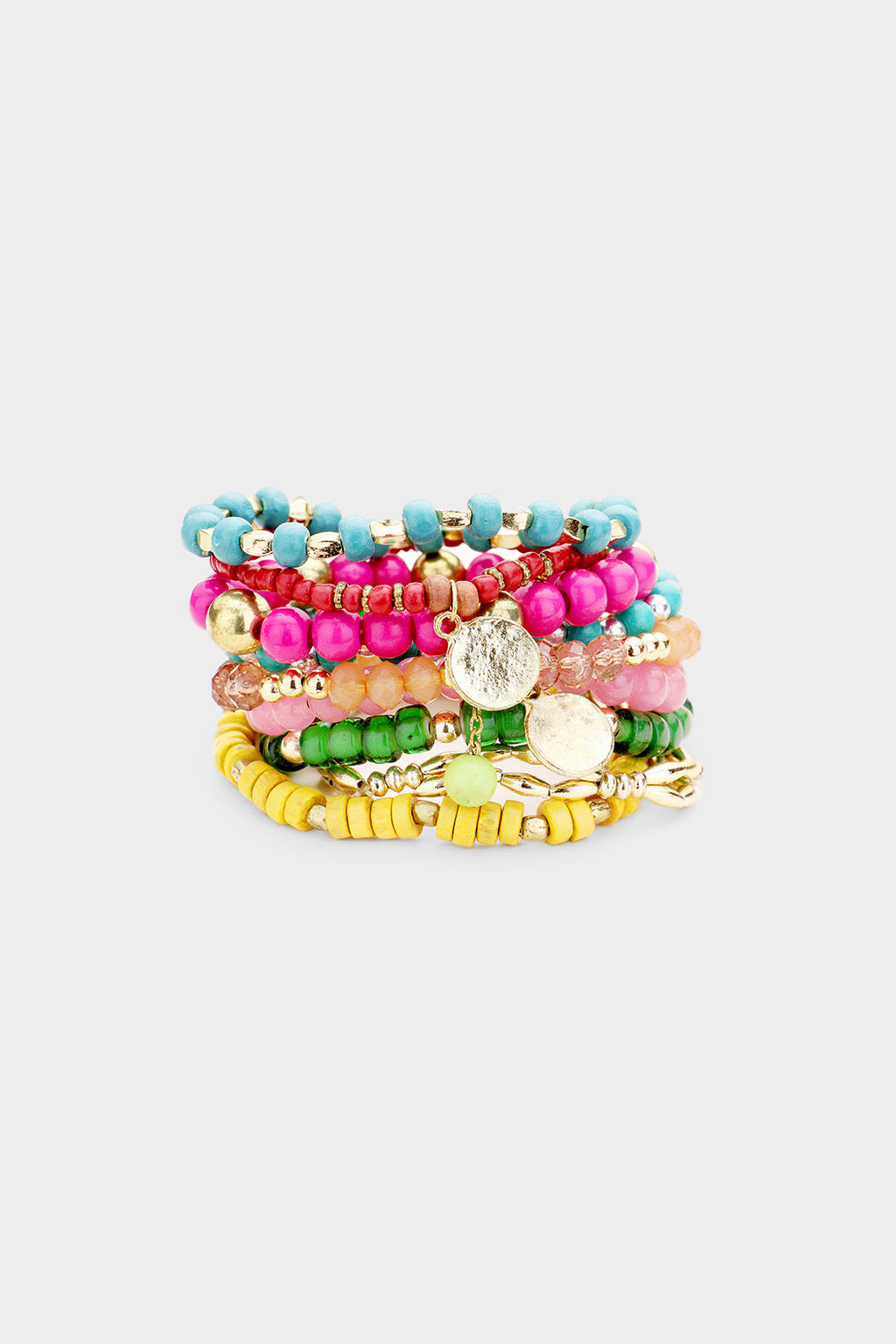 Multi Layered Bead Bracelets 9PCS