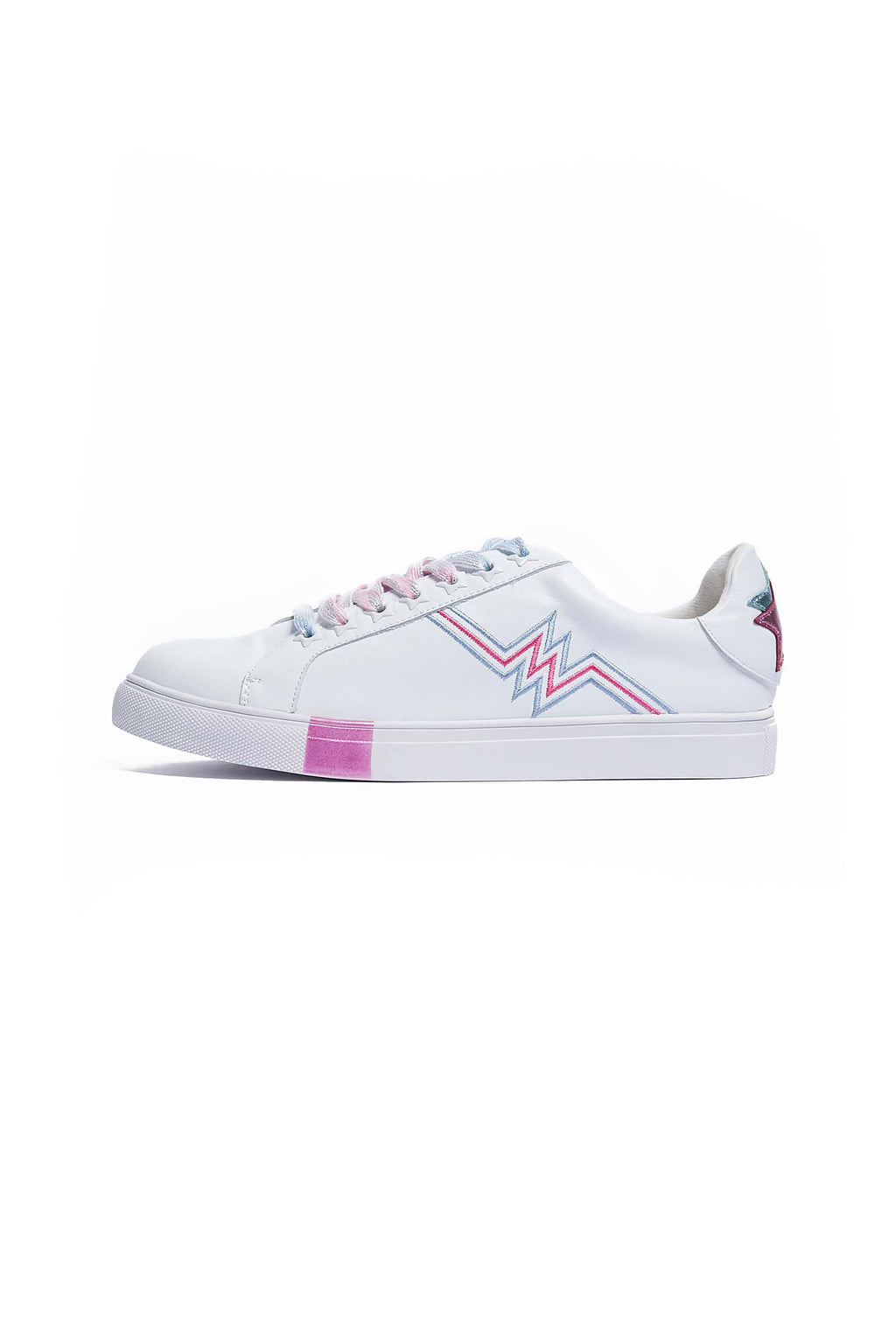 White Leather Heartbeat Trainers