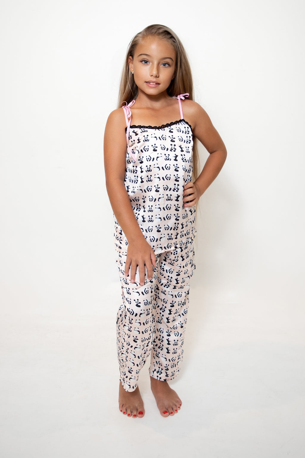 Kids Satin Panda Print Trousers