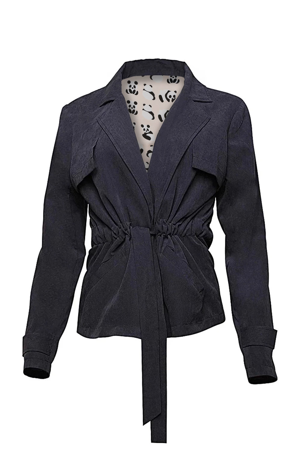 Cropped Belted Trench Coat with Panda Print Lining