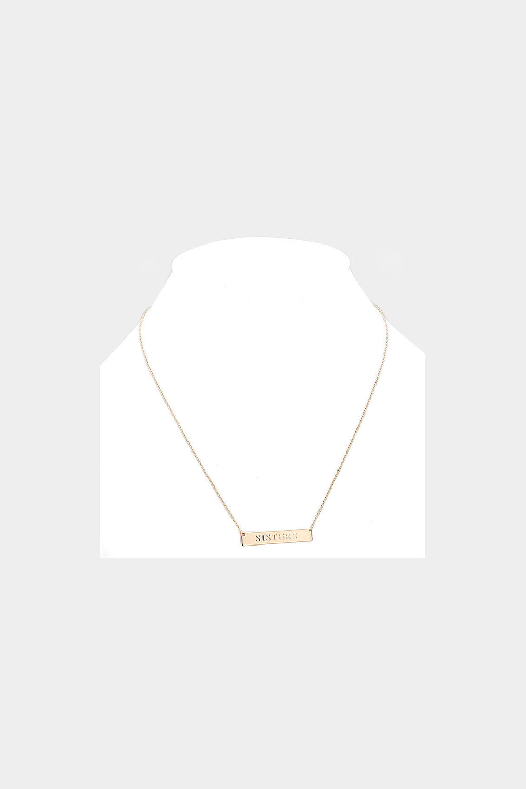 """Sisters"" Embossed Bar Necklace"