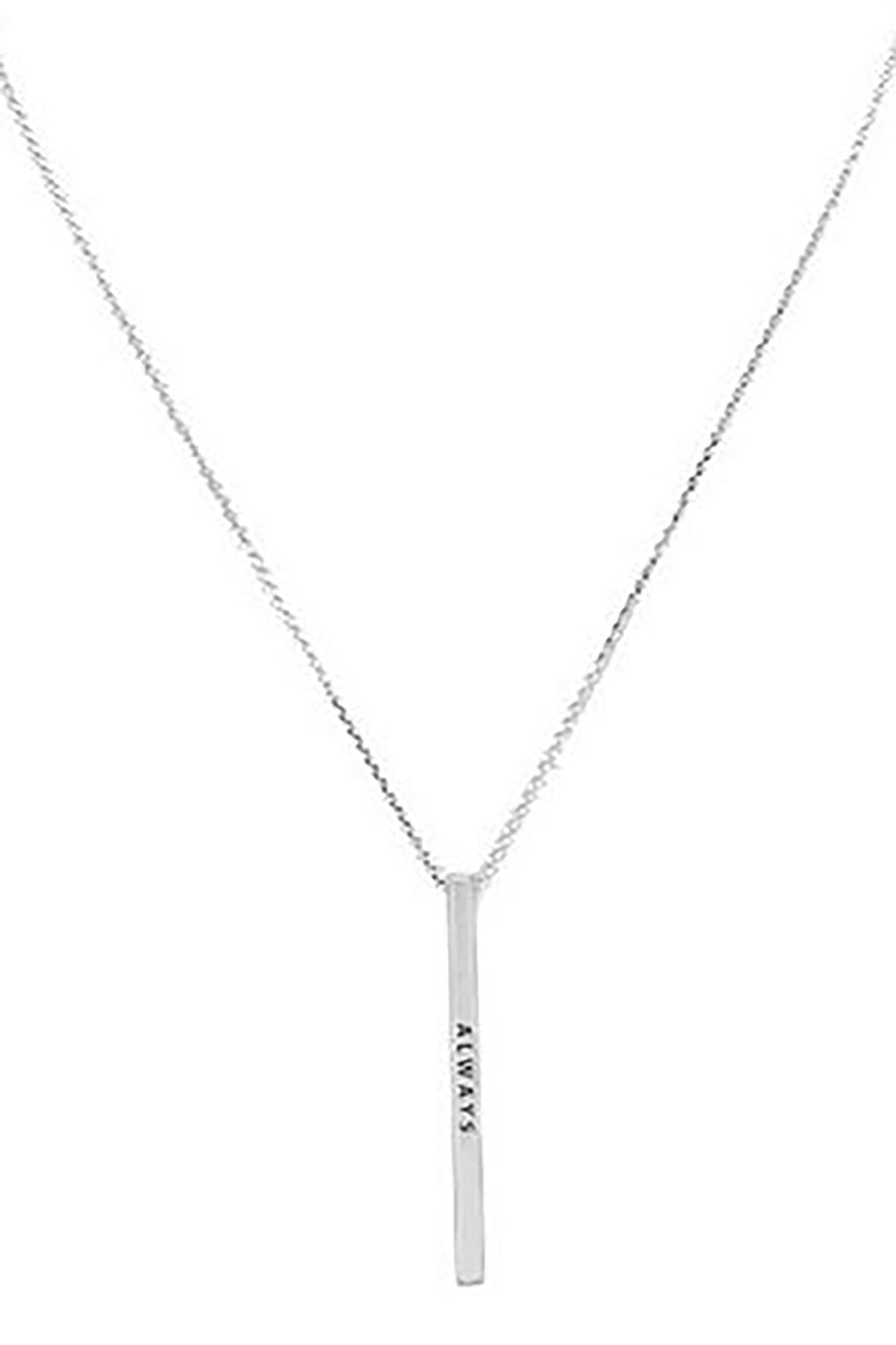 """Always"" Metal Bar Pendant Necklace"