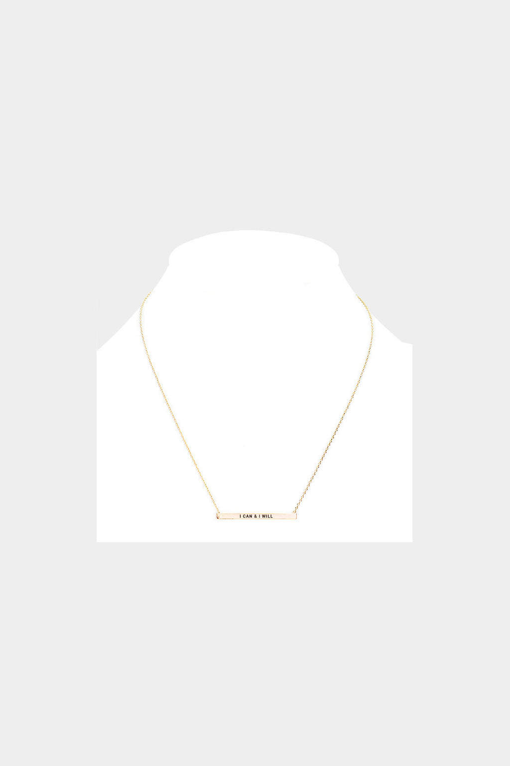 """I Can & I Will"" Horizontal Metal Bar Necklace"