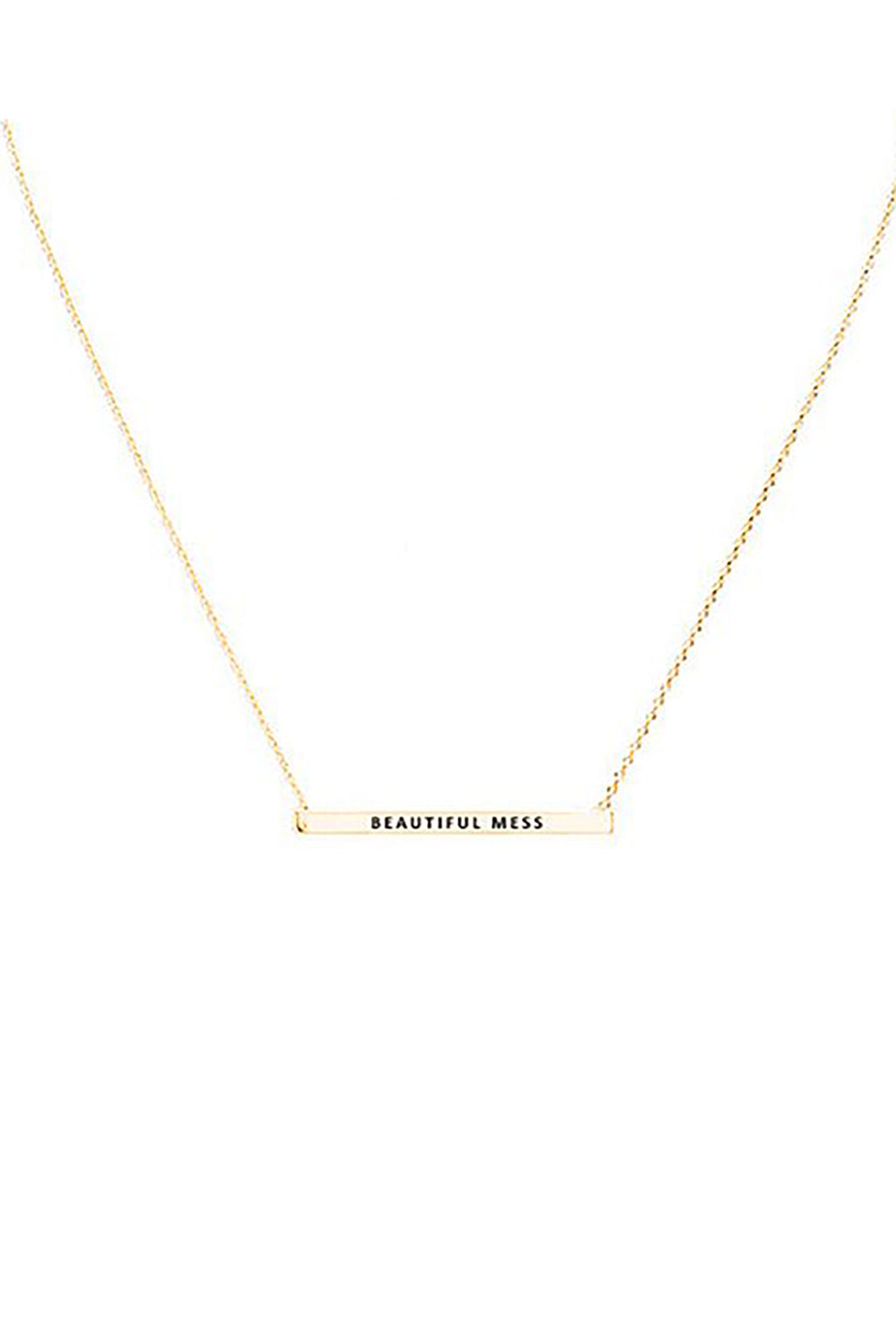 """Beautiful Mess"" Horizontal Metal Bar Necklace"