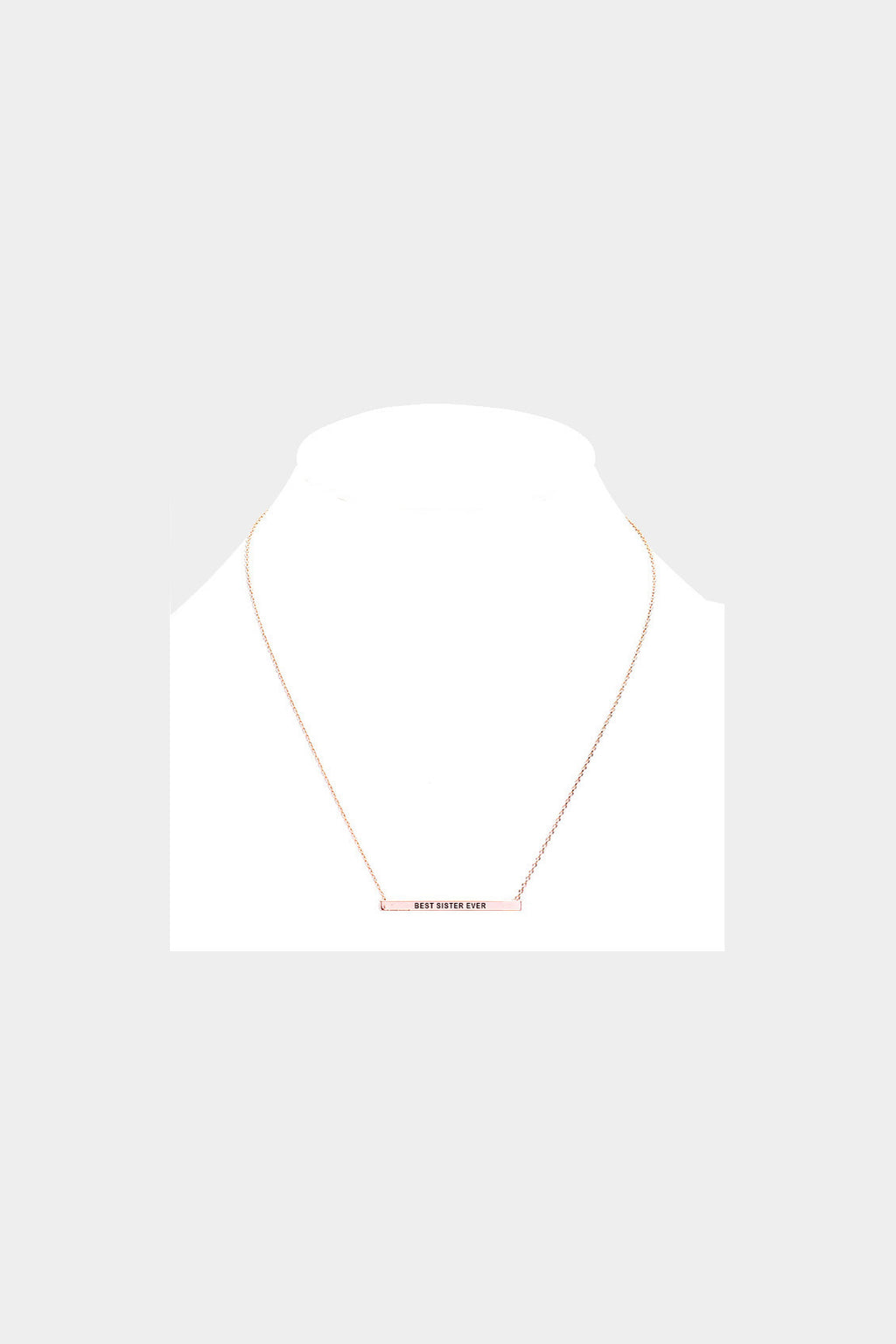 """Best Sister Ever"" Horizontal Metal Bar Necklace"