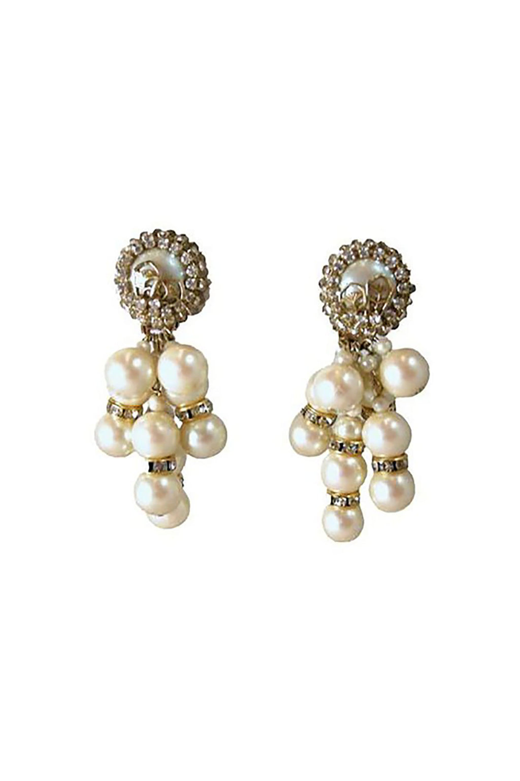 Vintage Signed DeMario Faux Pearls and Crystal Drop Earring