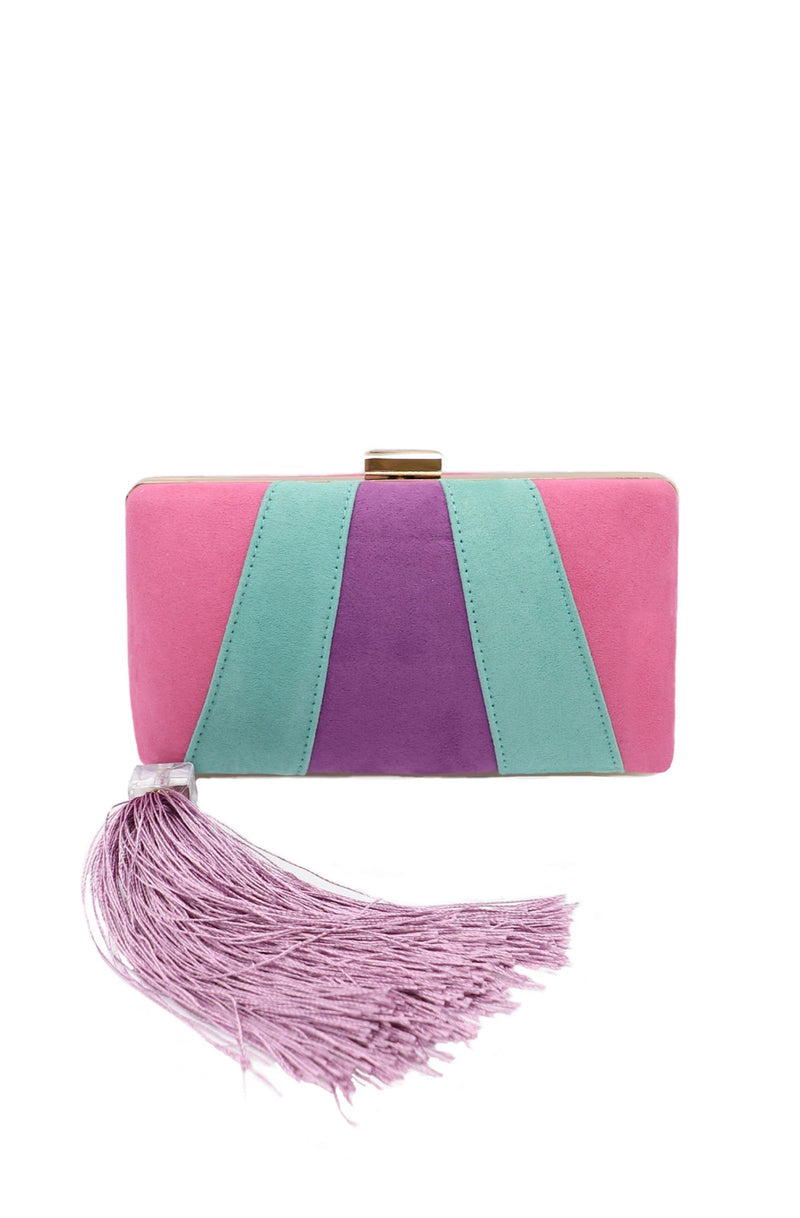 Suede Evening Clutch Bag