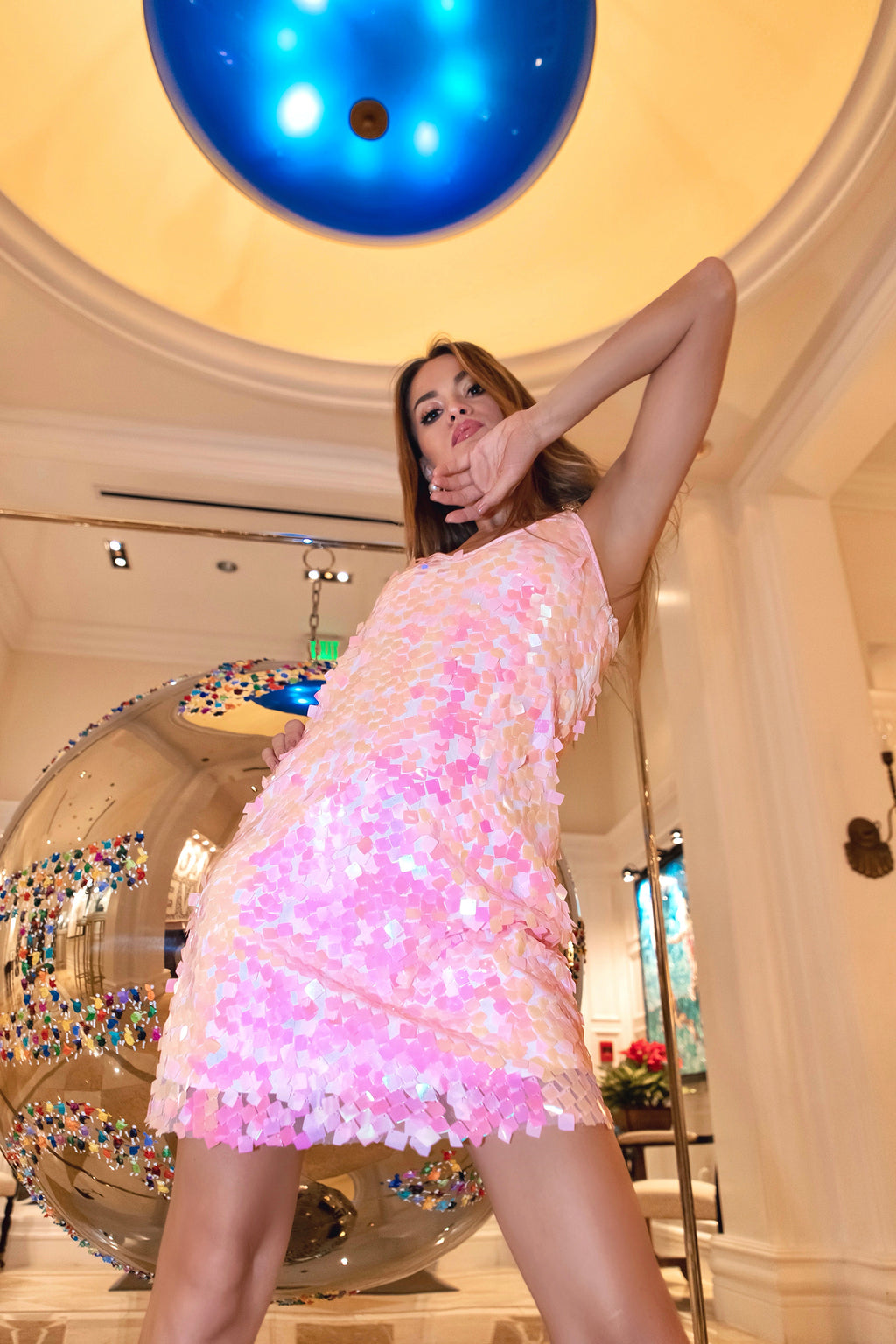 Ilona Rich Embellished Iridescent Sequin Pink Dress