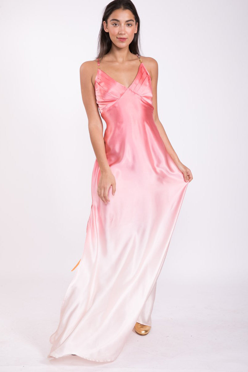 Silk Bead Maxi Dress Soft Pink
