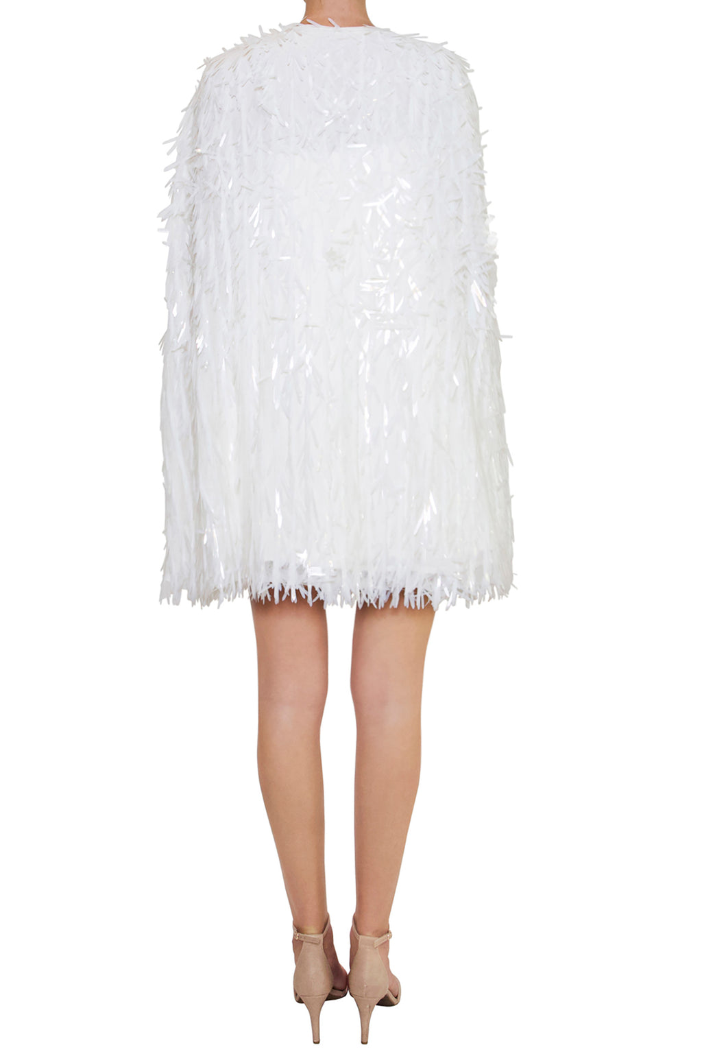 White Feather Sequin Cape