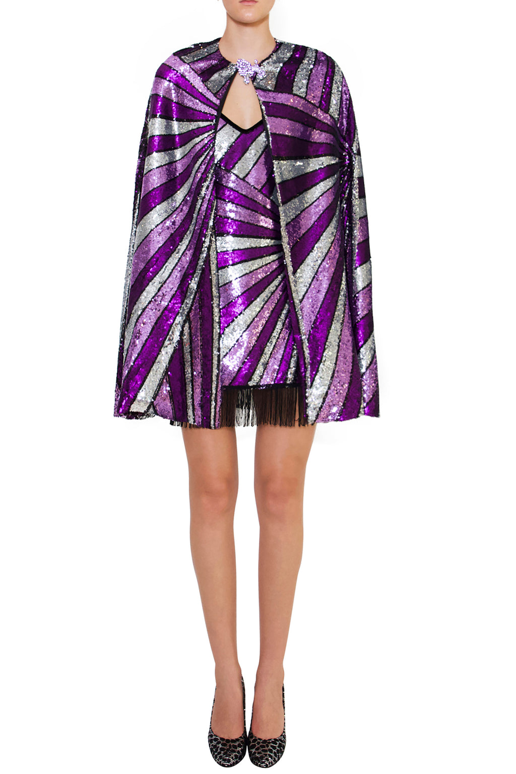 Ilona Rich Sequin Purple Cape