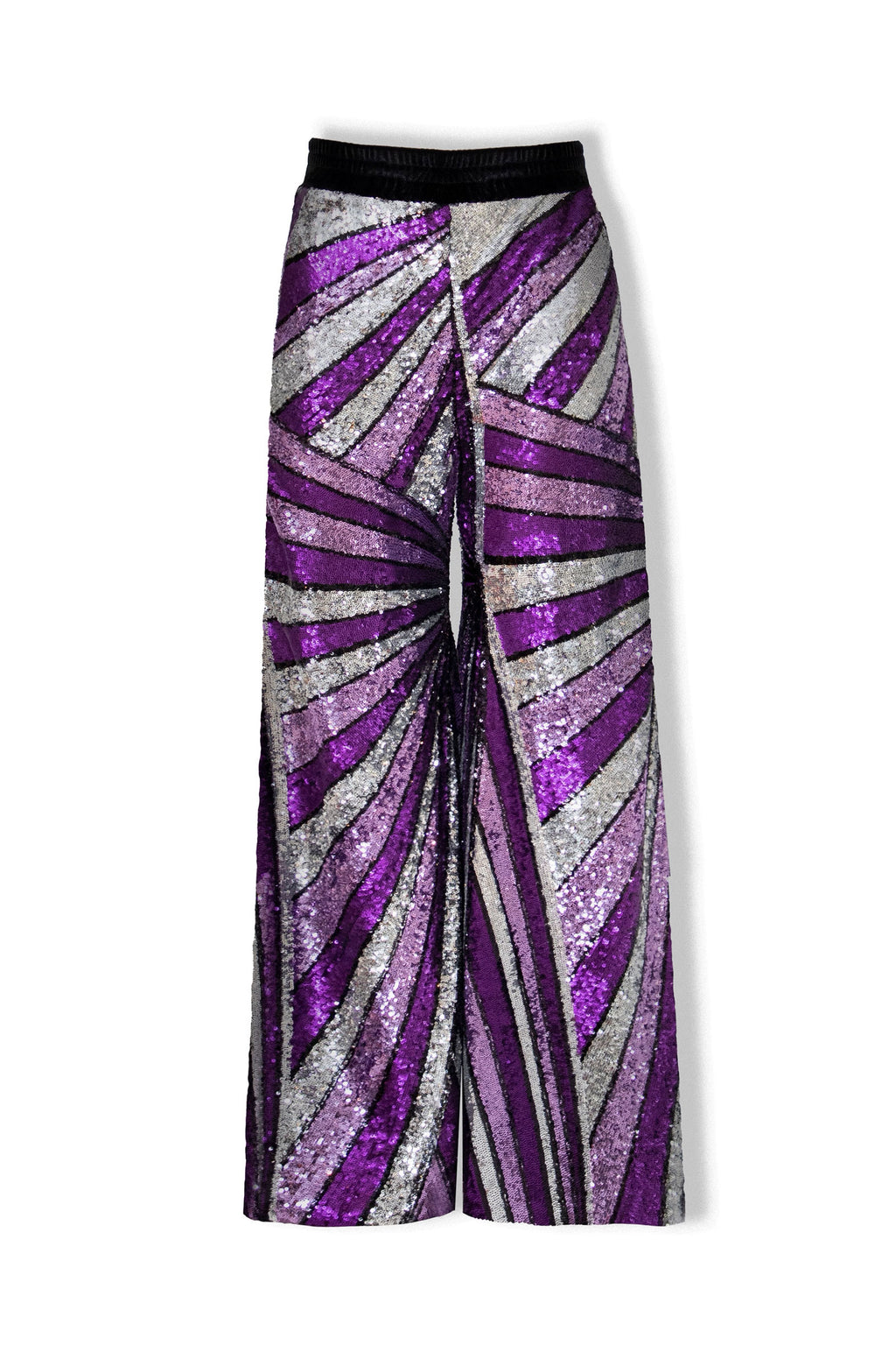 Ilona Rich Purple Geometrical Sequin Wide Leg Trousers