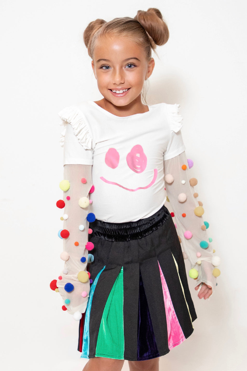 Smiley Pompom Long Sleeve Top