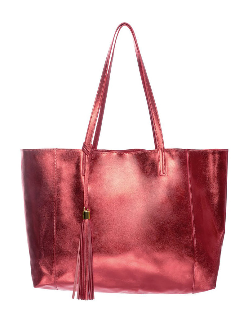 Red Metallic 100% Leather Shoulder Bag