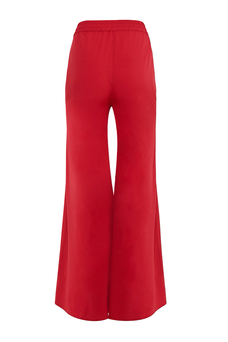 Deep Red Wide Leg Trousers