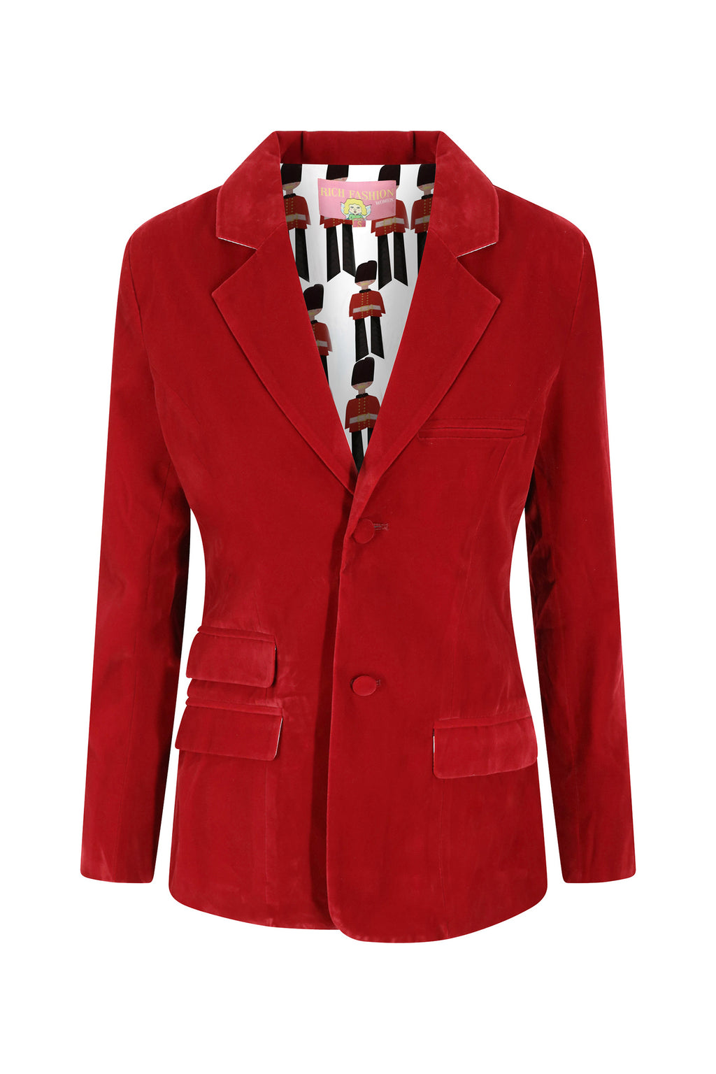 Red Velvet Blazer with Royal Guard Lining