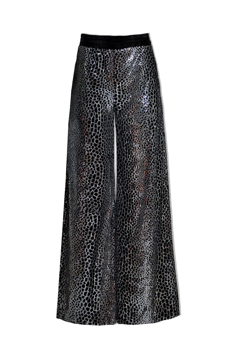Black Reptilian Sequin Wide Trousers