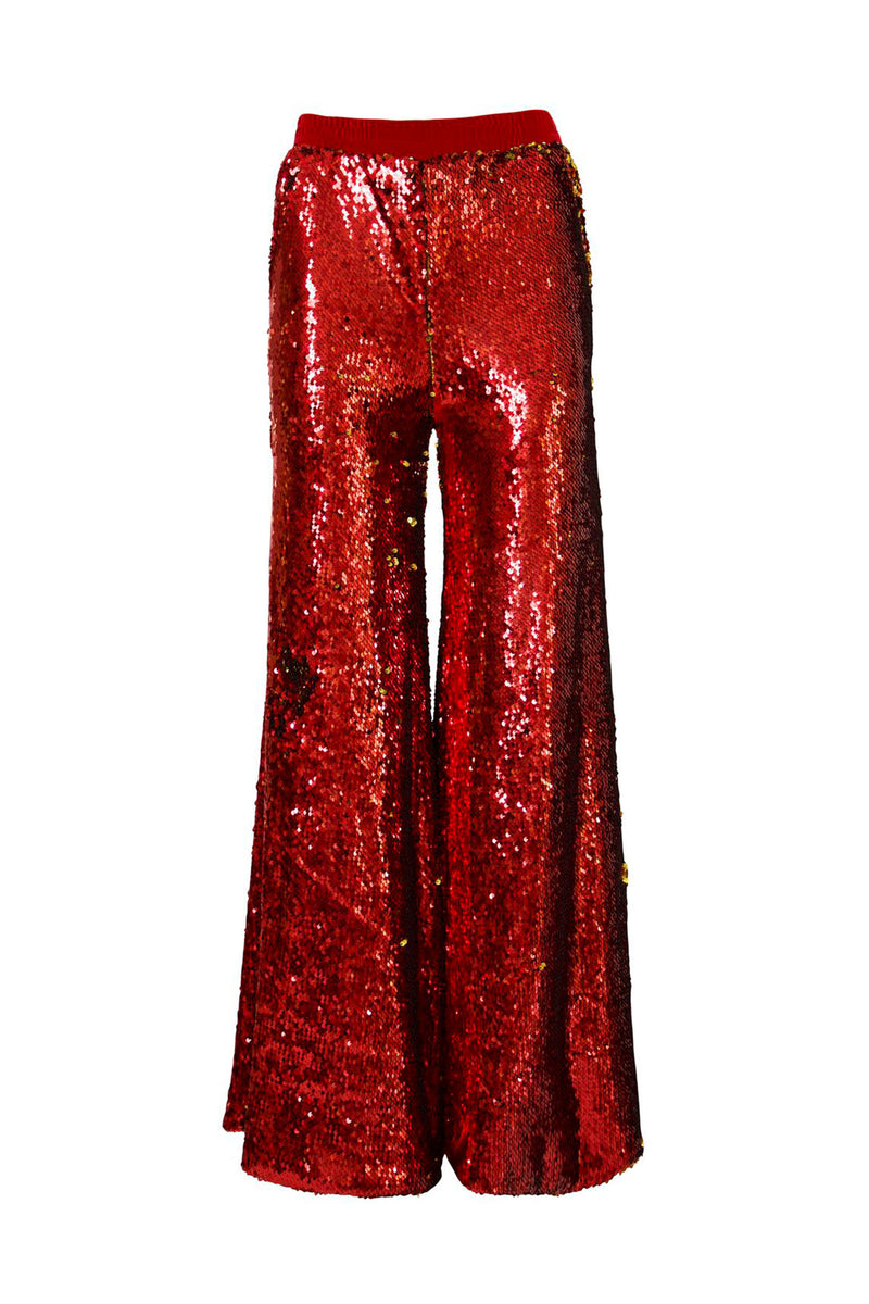Ilona Rich Red & Gold Sequin Wide Leg Trousers