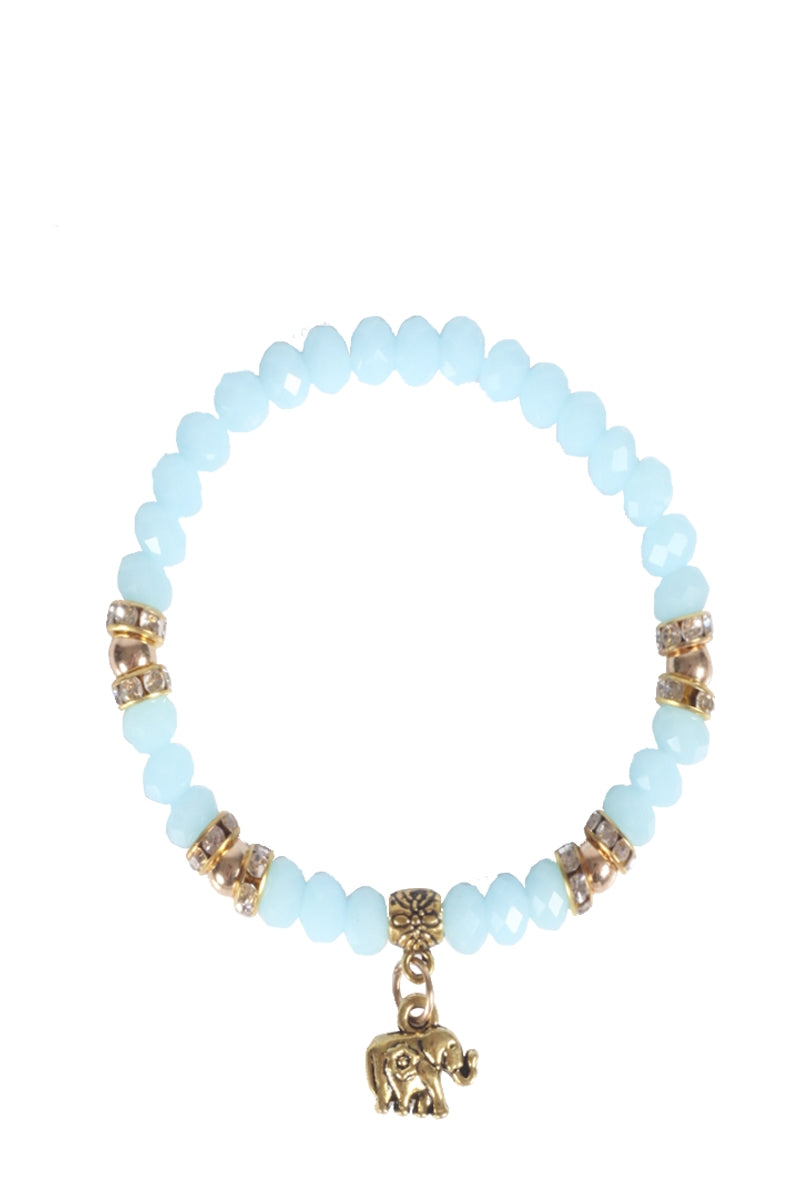 Beaded Stretch Bracelet with Elephant Charm
