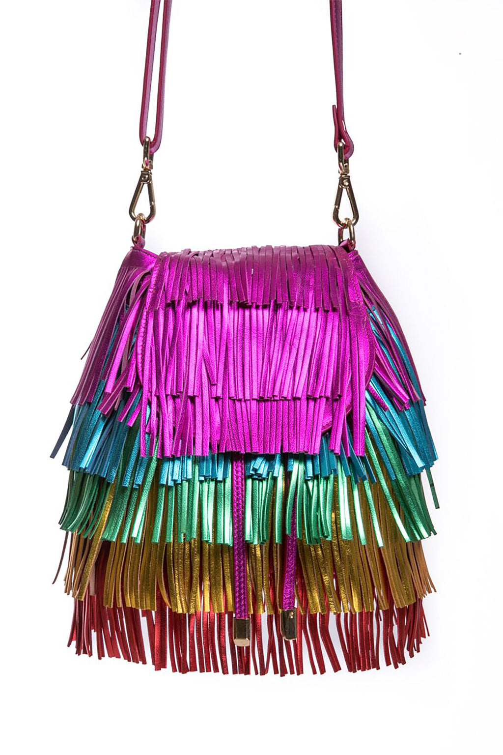 Rainbow Leather Bright Tassel Mini Bag