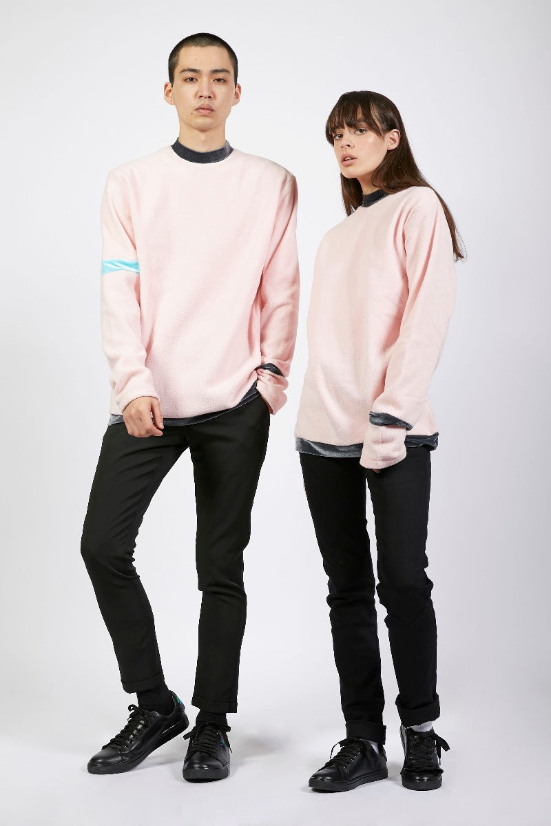 Unisex Pink Colour Block Fleece