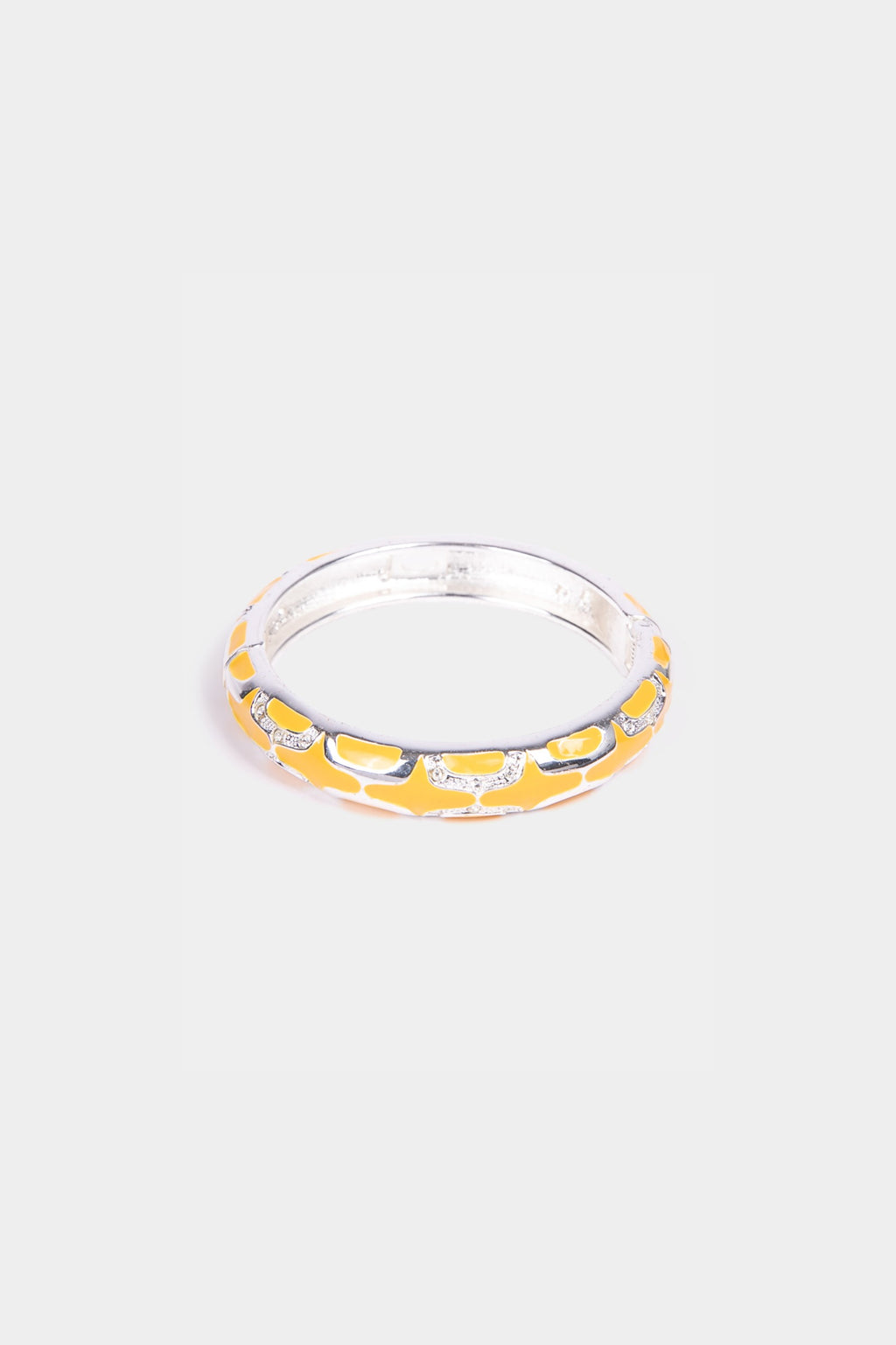 Yellow Enamel and Rhinestone Bracelet