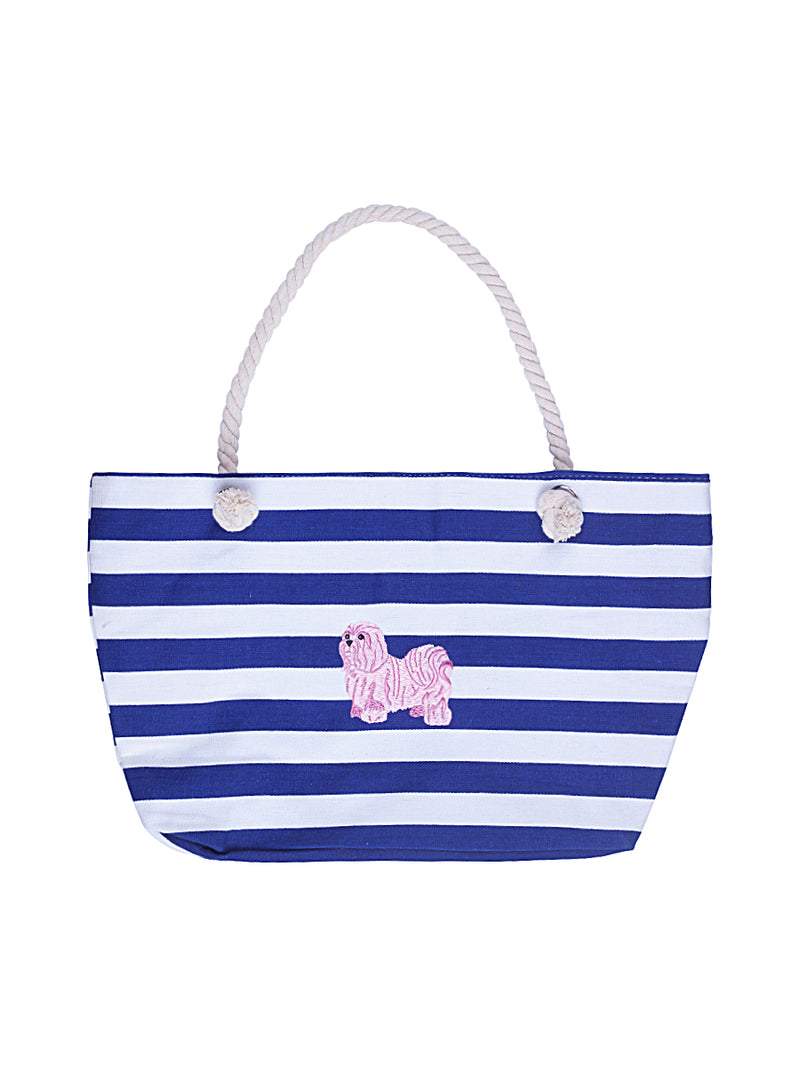 Nautical Stripe Beach Bag with Pink Dog Embroidery