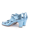 Metallic Blue Leather Cloud Cut Out Heels