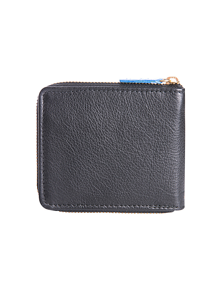 Leather Zip Around Wallet with Blue Metallic Detail
