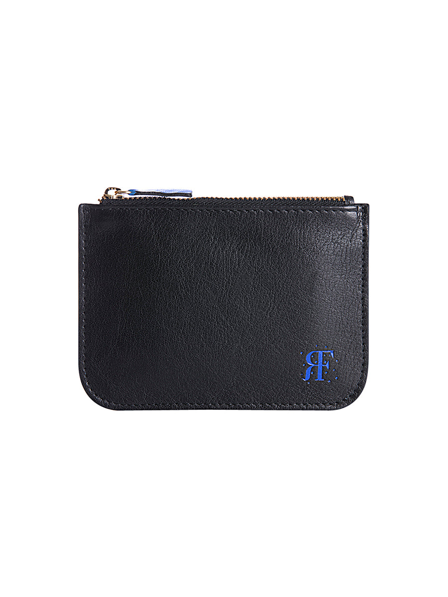 Blue Metallic Logo Zipper Pouch